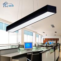 祺家 现代简约led办公室吊灯圆角工程灯长方形写字楼工作室车间会议室餐厅吊灯具ID41