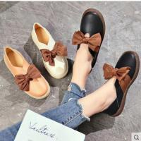 单鞋女网红同款女鞋子一脚蹬懒人鞋甜美蝴蝶结纯色平跟休闲鞋