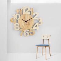 钟表挂钟客厅北欧创意实木立体数字现代家用静音简约时尚时钟 原木 37*34cm 14英寸