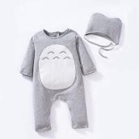 婴儿连体衣服纯棉女宝宝新生儿哈衣0男3个月长袖春秋装秋冬装睡衣