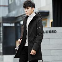 冬季羽绒服男中长款韩版潮流个性男装 白鸭绒连帽加厚保暖外套男