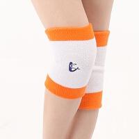 运动弹性吸汗护膝盖透气男女士护具户外骑车护膝保暖跑步防摔 橙色 两只装