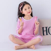 儿童睡衣男童空调服女童短袖家居服夏季薄款纯棉中大童宝宝七分袖套装