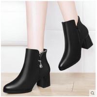古奇天伦新款高跟马丁靴靴子女短靴粗跟秋款百搭韩版秋冬女鞋