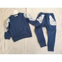 韩国童装女童休闲运动套装 童春装纯棉长袖套头卫衣运动裤套