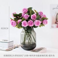 W客厅假花仿真花摆件装饰花插花干花花束手感保湿玫瑰花束仿真花