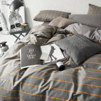 家纺条纹简约全棉纯棉四件套床上用品男2.0m1.8双人被子被套被单床套