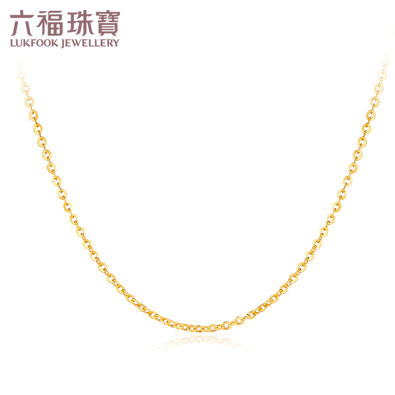 六福珠宝18K金项链O字扣圈百搭素链定价B01TBKN0002Y精致闪亮 简约百搭