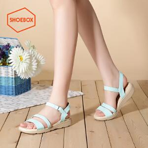 达芙妮旗下SHOEBOX/鞋柜夏简约低跟平底凉鞋一字扣带学生女鞋