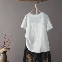 T1春夏装 韩版镂空短袖棉麻亚麻衬衫 刺绣上衣女泡泡袖白衬衣0.15
