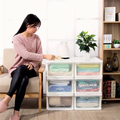 Yeya也雅 树脂透明收纳柜 塑料储物柜抽屉式收纳箱儿童宝宝玩具衣柜好料透明 取物方便