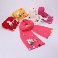 韩版秋冬儿童围巾女小兔子毛球毛线针织围脖男童女童保暖脖套宝宝