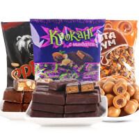 KDV俄罗斯紫皮糖进口糖果1000g 散装果仁巧克力喜糖零食批发包邮