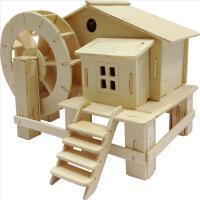 木质玩具儿童益智拼图手工拼装diy模型小屋水磨小屋