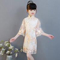 儿童旗袍女童夏中国风公主喇叭袖连衣裙小女孩古筝演出服改良唐装 香槟色