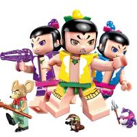 积木金刚葫芦娃玩具变形儿童拼装男孩子葫芦兄弟套装