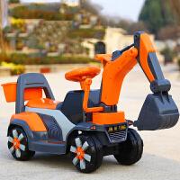 儿童款挖掘机可坐骑玩具挖土机男孩子电动老挖机灯音乐礼物