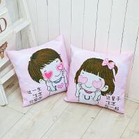 新款十字绣抱枕卡通动漫情侣一对可爱客厅卧室沙发汽车靠垫抱枕套