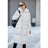 Amii实穿时髦 90白鸭绒毛绒连帽羽绒服女 冬装新宽松保暖长款外套.