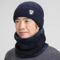 中老年帽子男冬季针织毛线帽秋冬天老头帽老人帽防寒保暖棉帽围脖