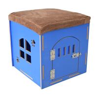 四季狗猫窝宠物换鞋凳可拆洗兔子笼房子木制宠物窝收纳狗窝猫吊床 加门款