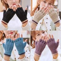 针织毛线学生写字露指手套女冬天五指秋冬季韩版男士半指弹力保暖