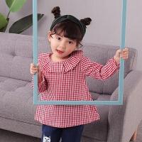 2018春装新款女童韩版时尚衬衫女宝宝可爱娃娃领格子衬衣