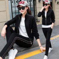 韩版宽松卫衣女士长裤休闲服两件套 新款时尚女装长袖外套短袖T恤三件套大码运动套装