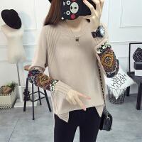 秋季新款韩版宽松大码毛针织衫女士贴布毛衣女套头百搭时尚打底衫