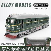 合金东风火车模型 儿童声光回力老式火车仿真地铁模型男孩玩具车 火车怀旧款绿色 礼盒装