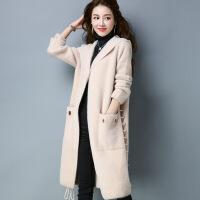 韩版长款连帽仿双面呢大衣 冬季新品女士毛衣外套 纯色大码女装