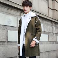冬天棉衣男韩版修身中长款帅气羊羔毛领男士冬季外套加绒加厚