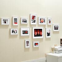 组合卧室欧式婚纱客厅像框卧室组合复古结婚照片相架透明水晶定做奖状影楼证书北欧照片 白色一抹惊红 枚红墙贴 13个相框组