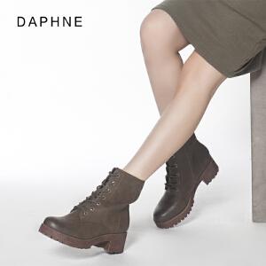 达芙妮秋冬马丁靴英伦风短靴时尚女鞋复古百搭厚底靴子女