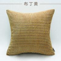 绒沙发靠垫床头抱枕办公室腰枕汽车抱枕靠枕大号抱枕套不含芯 布丁黄 玉米粒