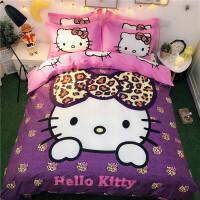 棉卡通凯蒂猫四件套棉哈喽KT猫公主风被套儿童kitty床单4件套 乳白色 梦幻天使
