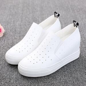 环球 夏季新款镂空透气休闲鞋女鞋韩版潮内增高经典纯色套脚单鞋