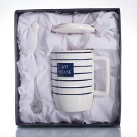 七夕礼物创意简约马克杯带盖勺陶瓷杯子情侣水杯一对办公室早餐牛奶咖啡杯1