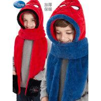 迪士尼�和�帽子��巾手套一�w毛�q帽冬保暖防�L男童幼�������脖套