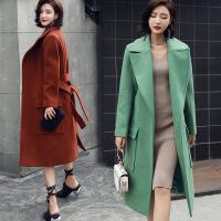 2017秋季冬新品翻领长袖长款女毛呢外套新 大衣韩版修身优雅风衣