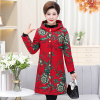 羽绒服 新品女中老年女装冬装棉衣大码加厚中长款妈妈奶奶加绒保暖棉袄大衣