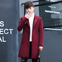 男士风衣中长款呢子外套2017冬季新款韩版毛呢修身英伦翻领大衣男