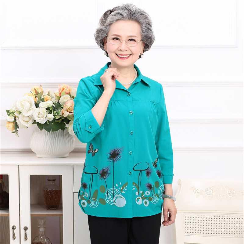 中老人衬衫女妈妈衬衣中袖婆婆夏天老年人夏装奶奶老太太上衣服装