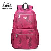 智尔娜2017高中学生书包迷彩双肩包男女式背包百搭学院风休闲旅行包