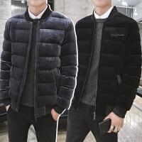 冬装男士棒球领棉衣服韩版修身外套男潮流冬天加厚保暖金丝绒棉袄