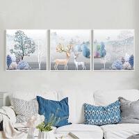客厅装饰画沙发背景墙画现代简约时尚挂画餐厅墙面创意壁画三联画 富贵麋鹿C-款 80*80
