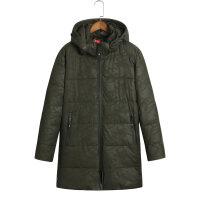 反季冬天迷彩运动中长款棉衣男士加肥加大码连帽外套胖子棉袄 X