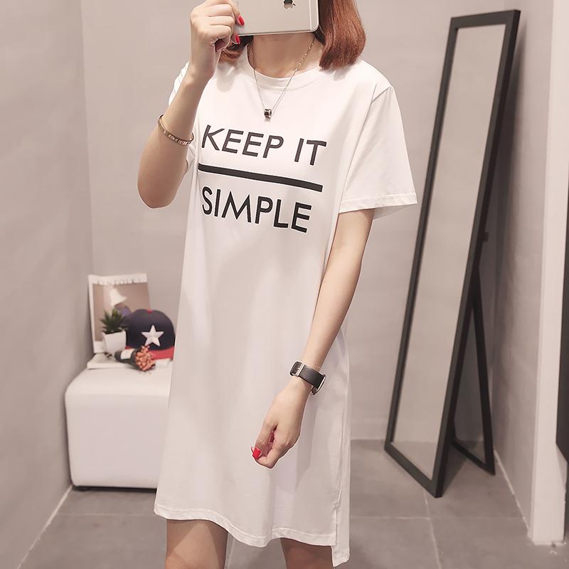 RANJU 然聚2018女装夏季新品新款中长款韩版休闲短袖上衣学生半袖女装