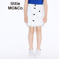 littlemoco中高腰单排扣门襟袋盖口袋弧形A字摆半身裙KA171SKT404