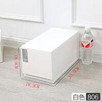 加厚多层抽屉式自由组合柜子大号塑料收纳箱抽屉柜储物箱窄柜 乳白色 806 一层